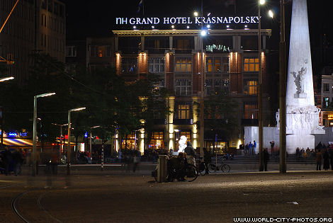 Grand Hotel Krasnapolsky in Amsterdam by night