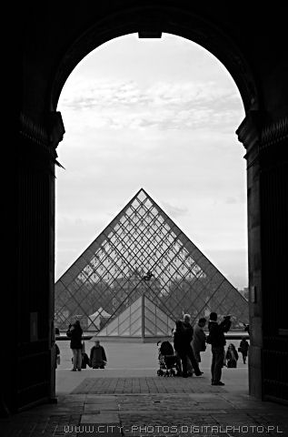 Pyramid in Louvre black and white photos