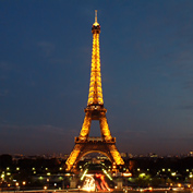 Night photo of Eiffel Tower in Paris