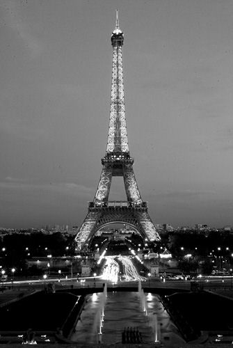 Eiffel Tower by night (black and white photos)