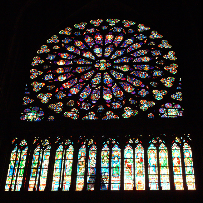 Paris, Notre Dame photos - Stained Glasses in Notre Dame Cathedral, Paris, France